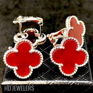 Jewelry - Red Carnelian S 925 Silver Clover Flower Earrings
